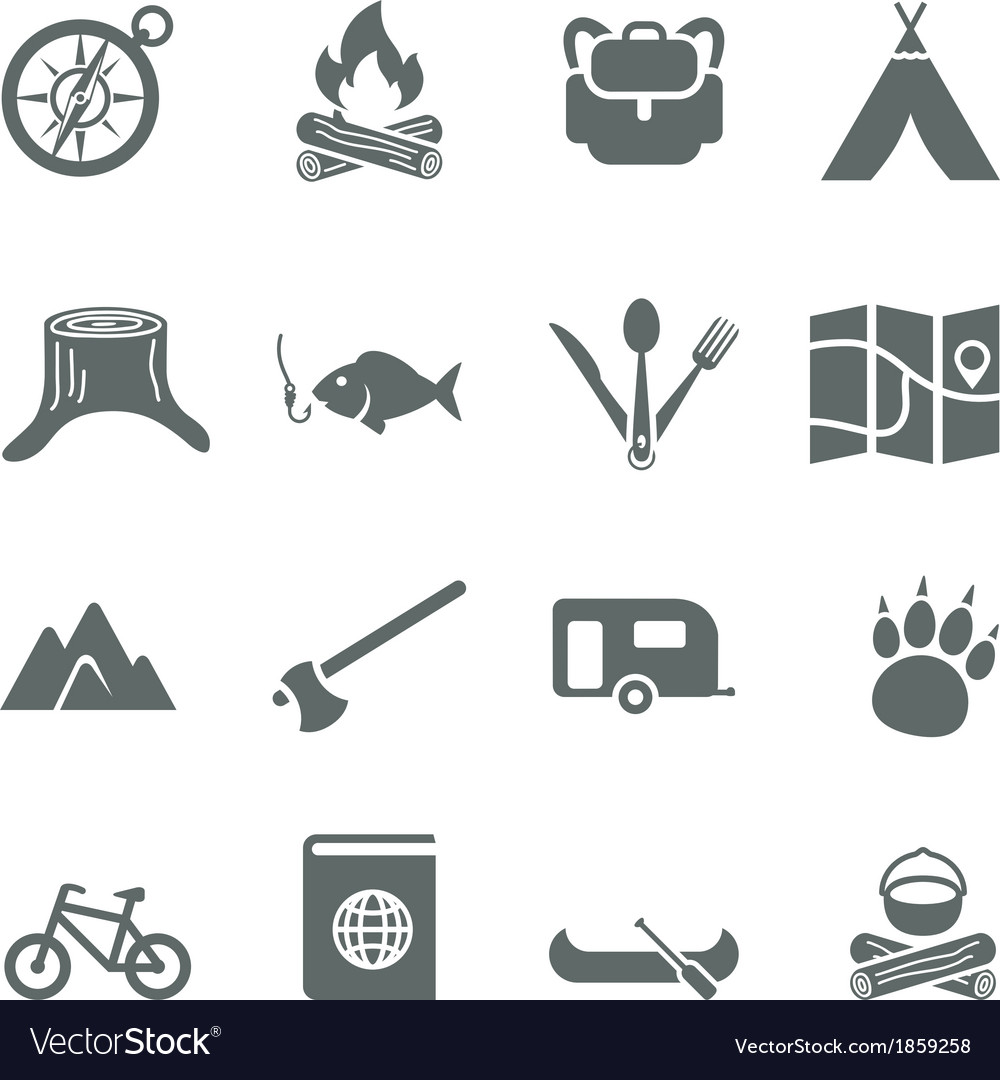 Set of icons for tourism travel and camping vector