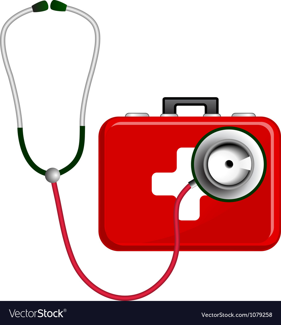 Stethoscope and first aid kit vector | Price: 3 Credit (USD $3)