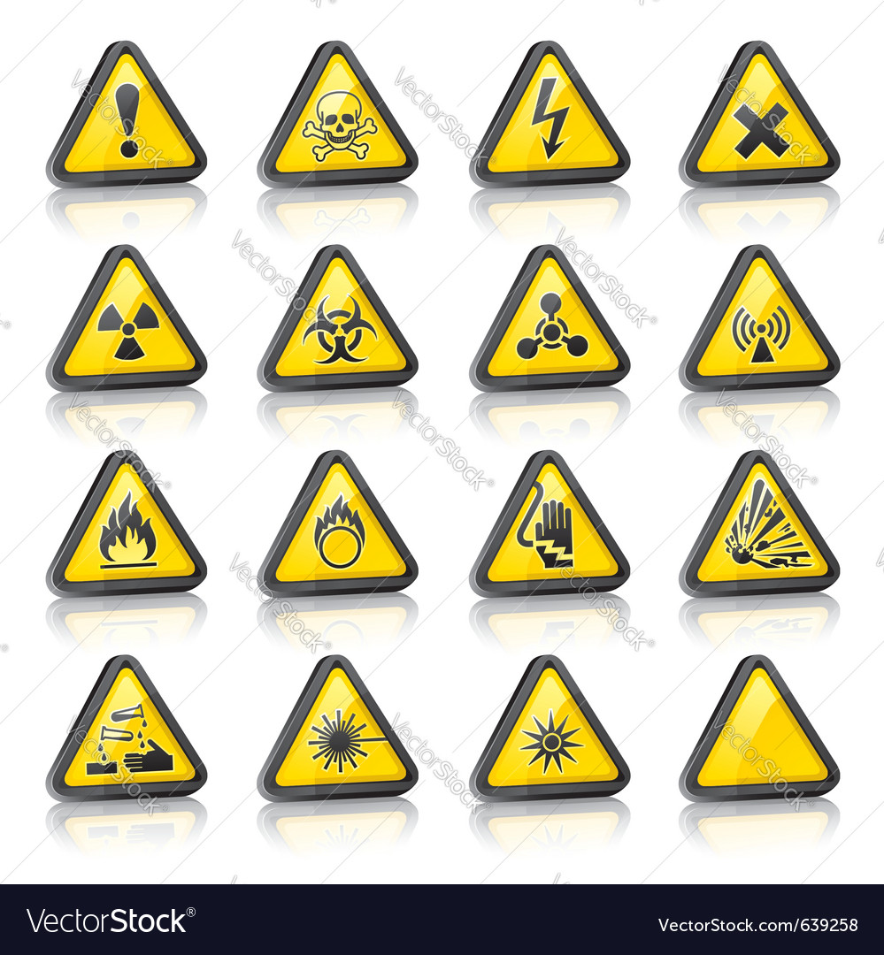 Three-dimensional hazard signs vector | Price: 1 Credit (USD $1)