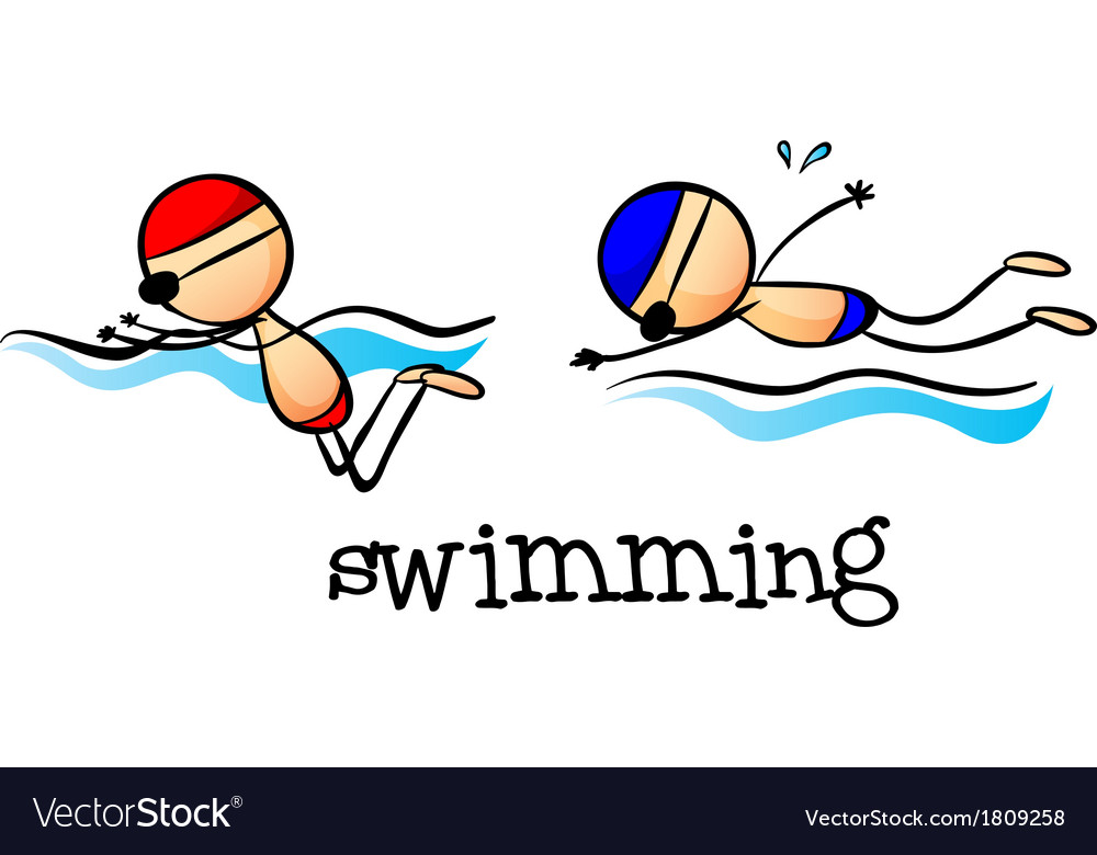 Two boys swimming vector | Price: 1 Credit (USD $1)
