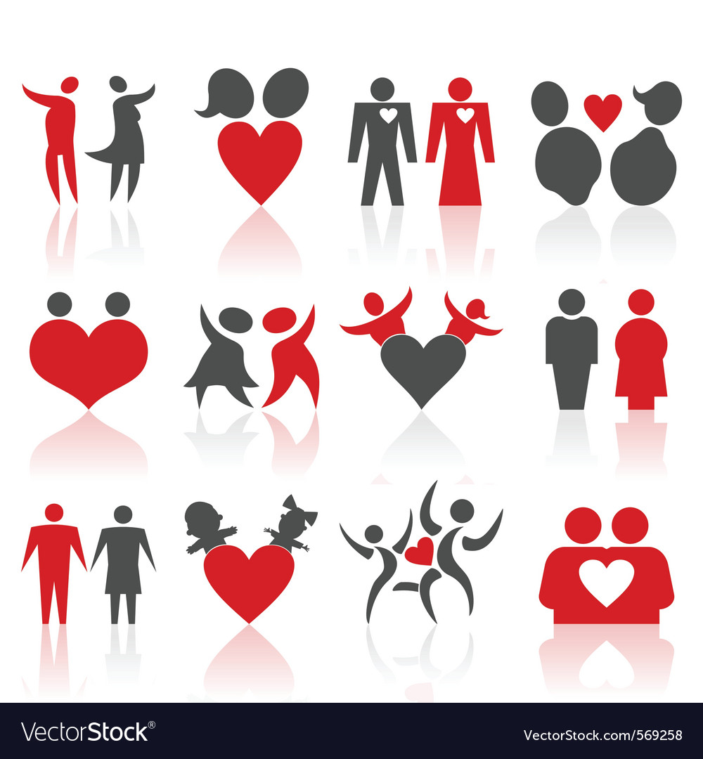 Valentines people icons vector | Price: 1 Credit (USD $1)
