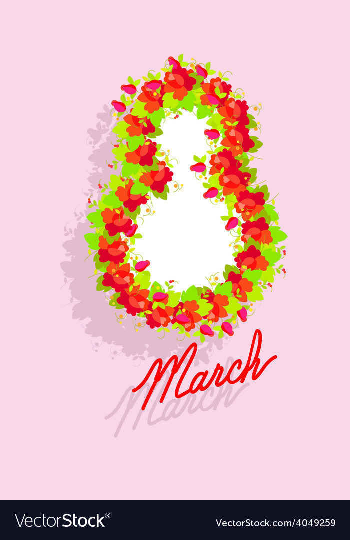 8 march international womens day greeting card vector | Price: 1 Credit (USD $1)