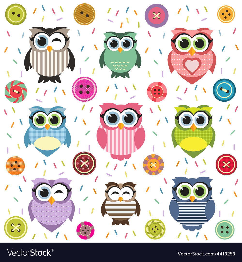 Background with cute textured owls vector | Price: 1 Credit (USD $1)