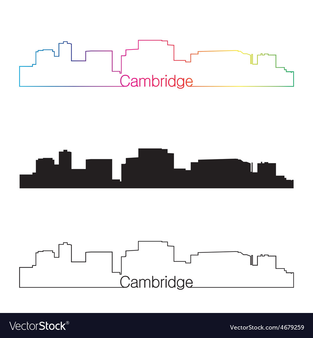Cambridge skyline linear style with rainbow vector | Price: 1 Credit (USD $1)