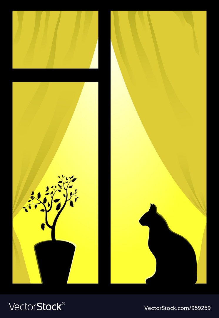 Cat in the window vector | Price: 1 Credit (USD $1)