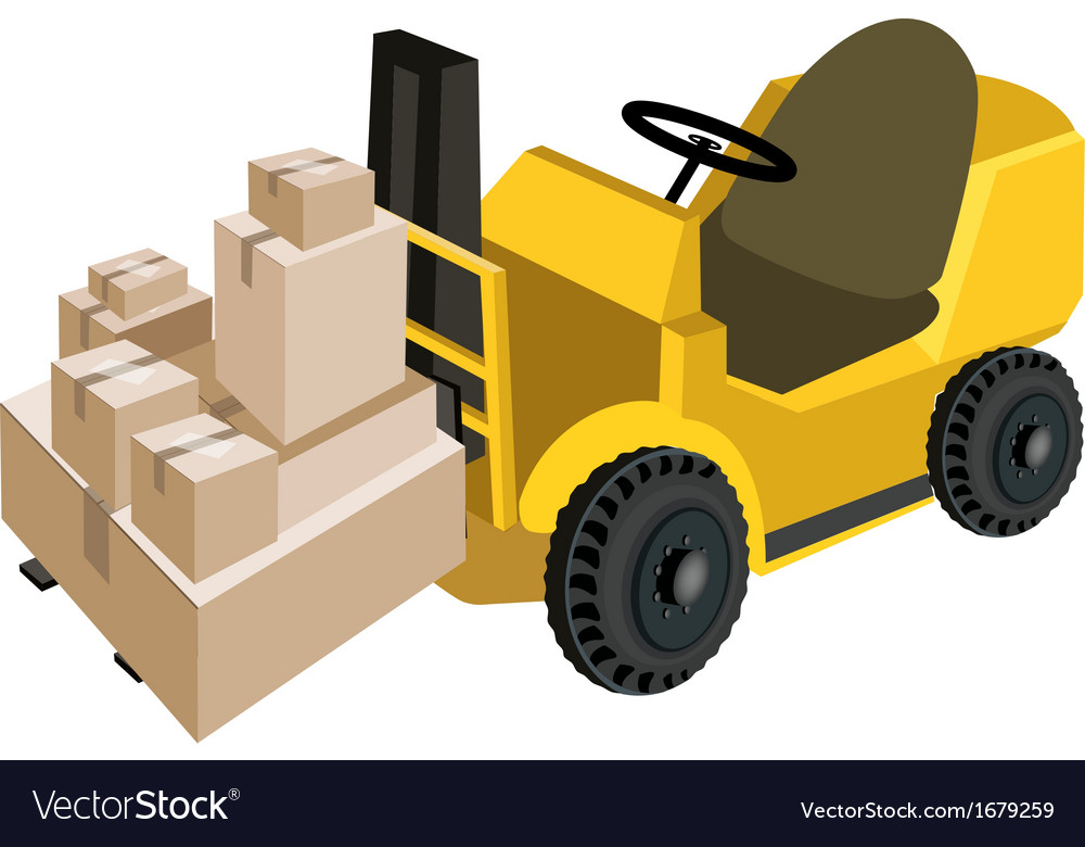 Forklift truck loading a stack of shipping box vector | Price: 1 Credit (USD $1)