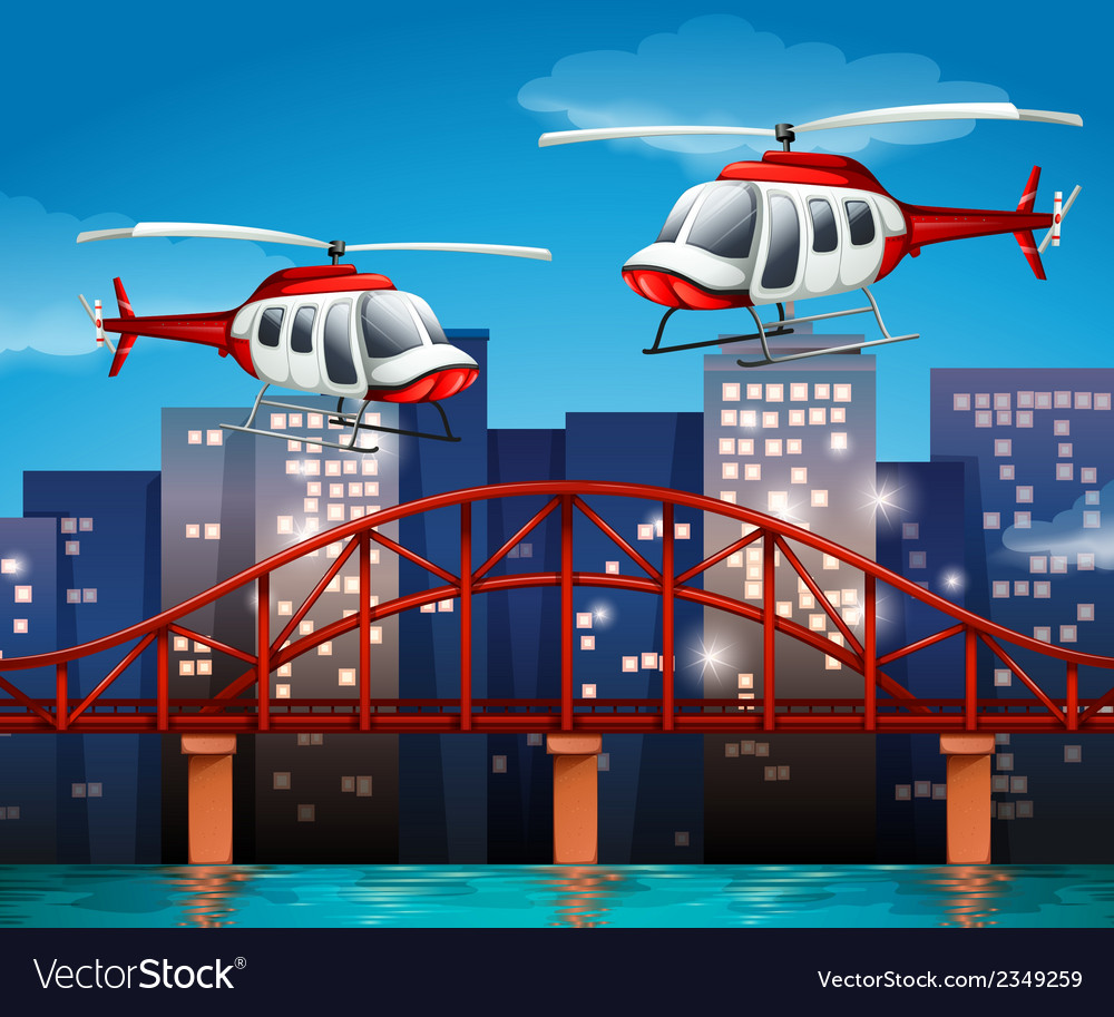 Helicopters near the bridge vector | Price: 1 Credit (USD $1)