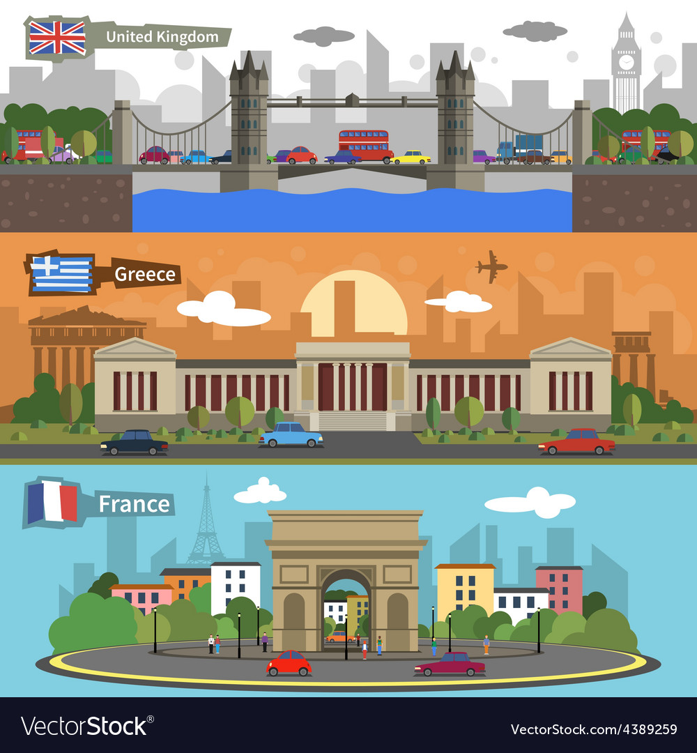 Historical landmarks skyline banners set vector | Price: 1 Credit (USD $1)