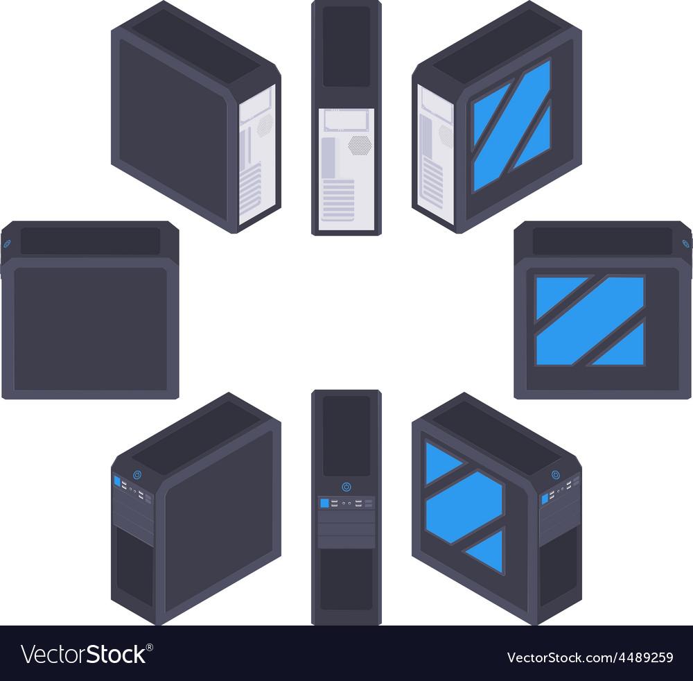 Isometric black pc case vector | Price: 1 Credit (USD $1)