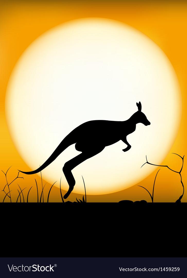 Kangaroo sunset vector | Price: 1 Credit (USD $1)