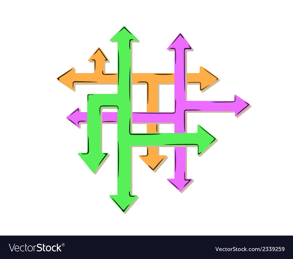 Net of the arrows and many arrows - many ways vector | Price: 1 Credit (USD $1)