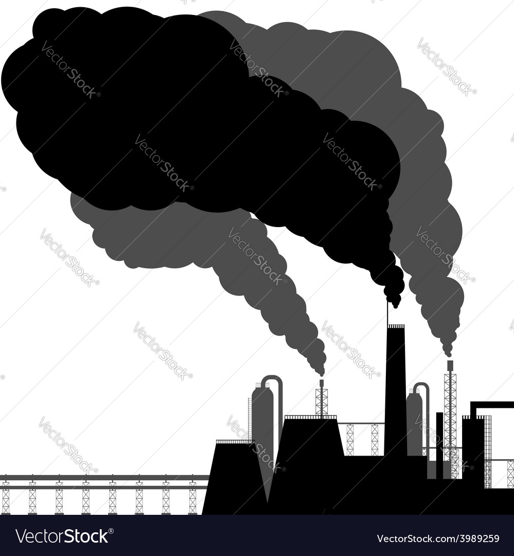 Pollution black silhouette on a white background vector | Price: 1 Credit (USD $1)