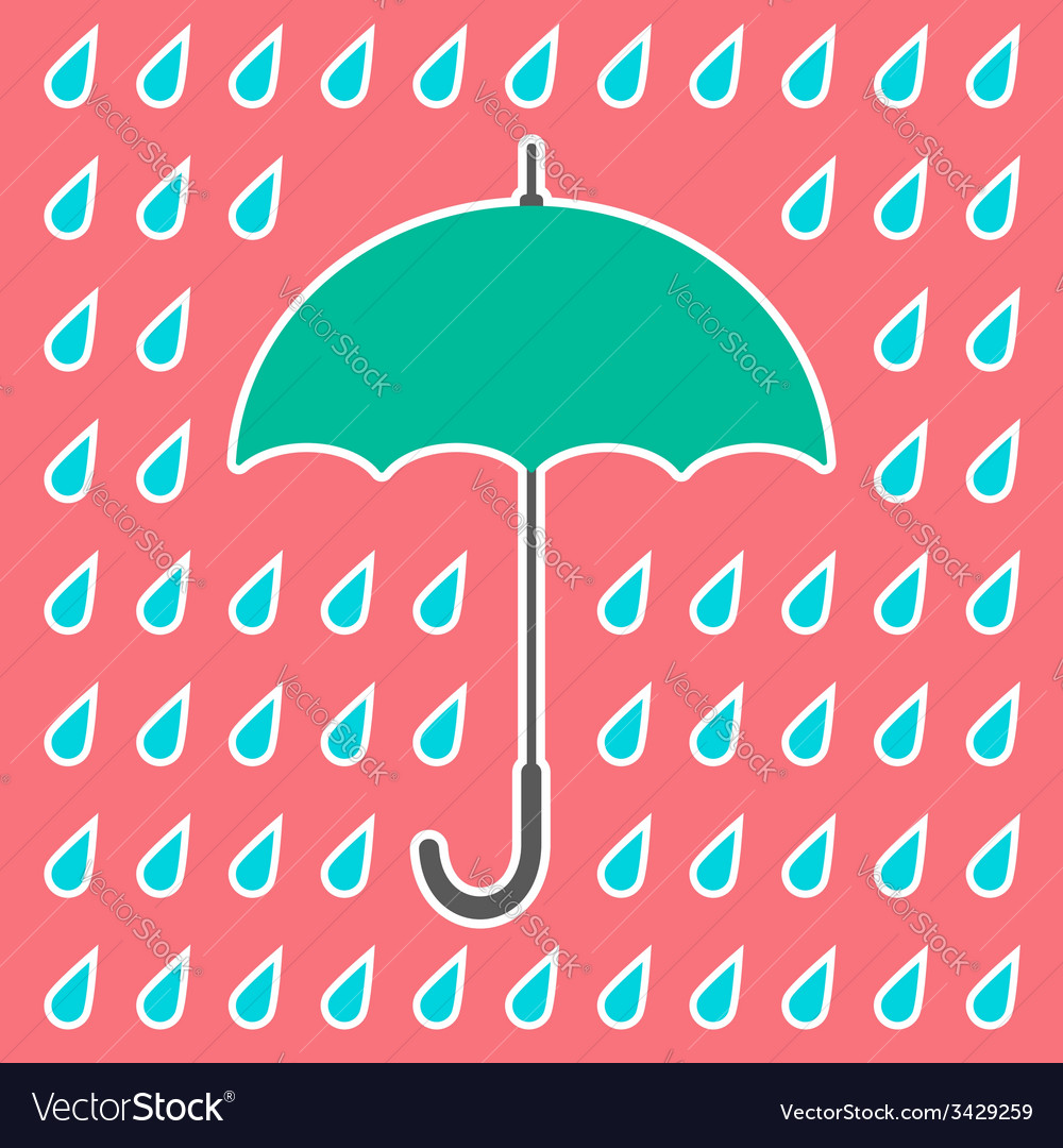 Retro umbrella and drops vector | Price: 1 Credit (USD $1)