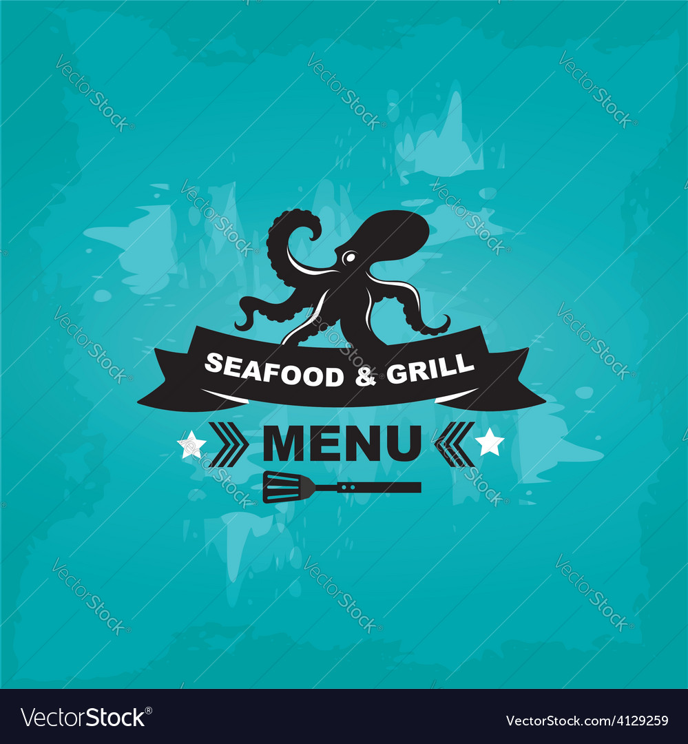 Seafood cafe menu grill template design vector   Price: 1 Credit (USD $1)