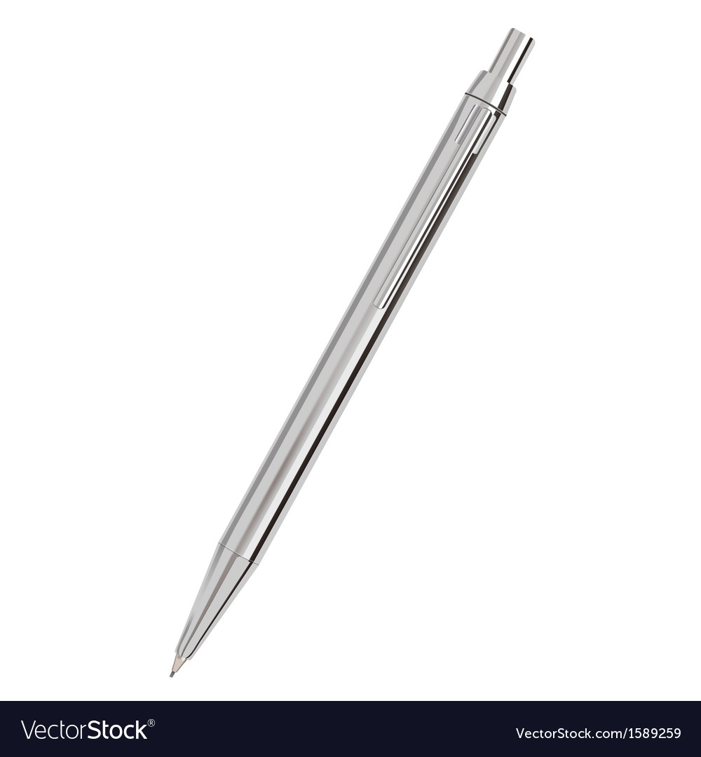 Silver ballpoint pen isolated on white vector | Price: 1 Credit (USD $1)