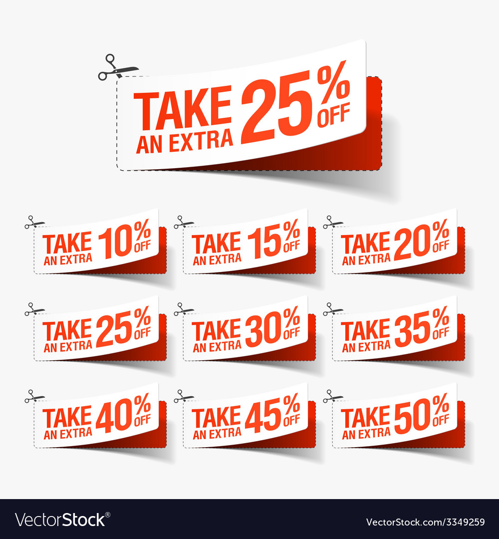 Take an extra sale coupons vector | Price: 1 Credit (USD $1)