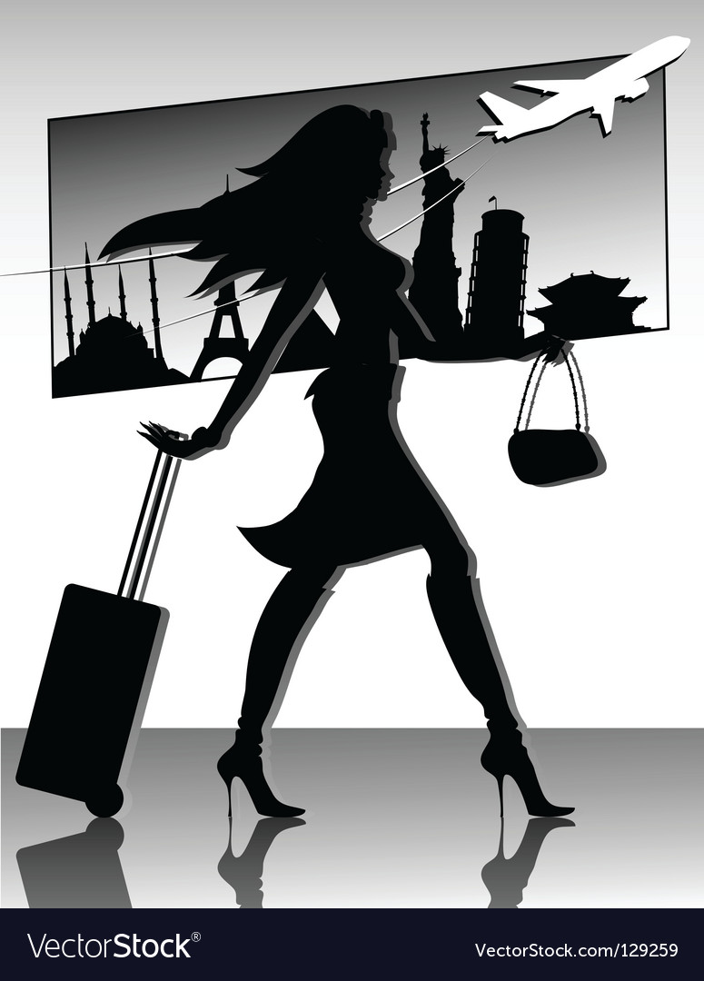Travel girl silhouette vector | Price: 1 Credit (USD $1)