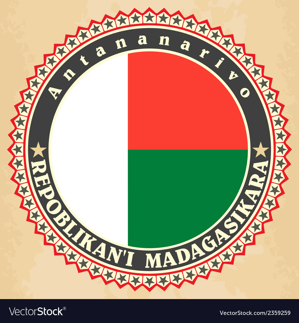 Vintage label cards of madagascar flag vector | Price: 1 Credit (USD $1)