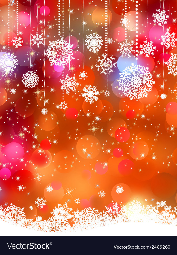 Abstract orange winter with snowflakes eps 8 vector | Price: 1 Credit (USD $1)
