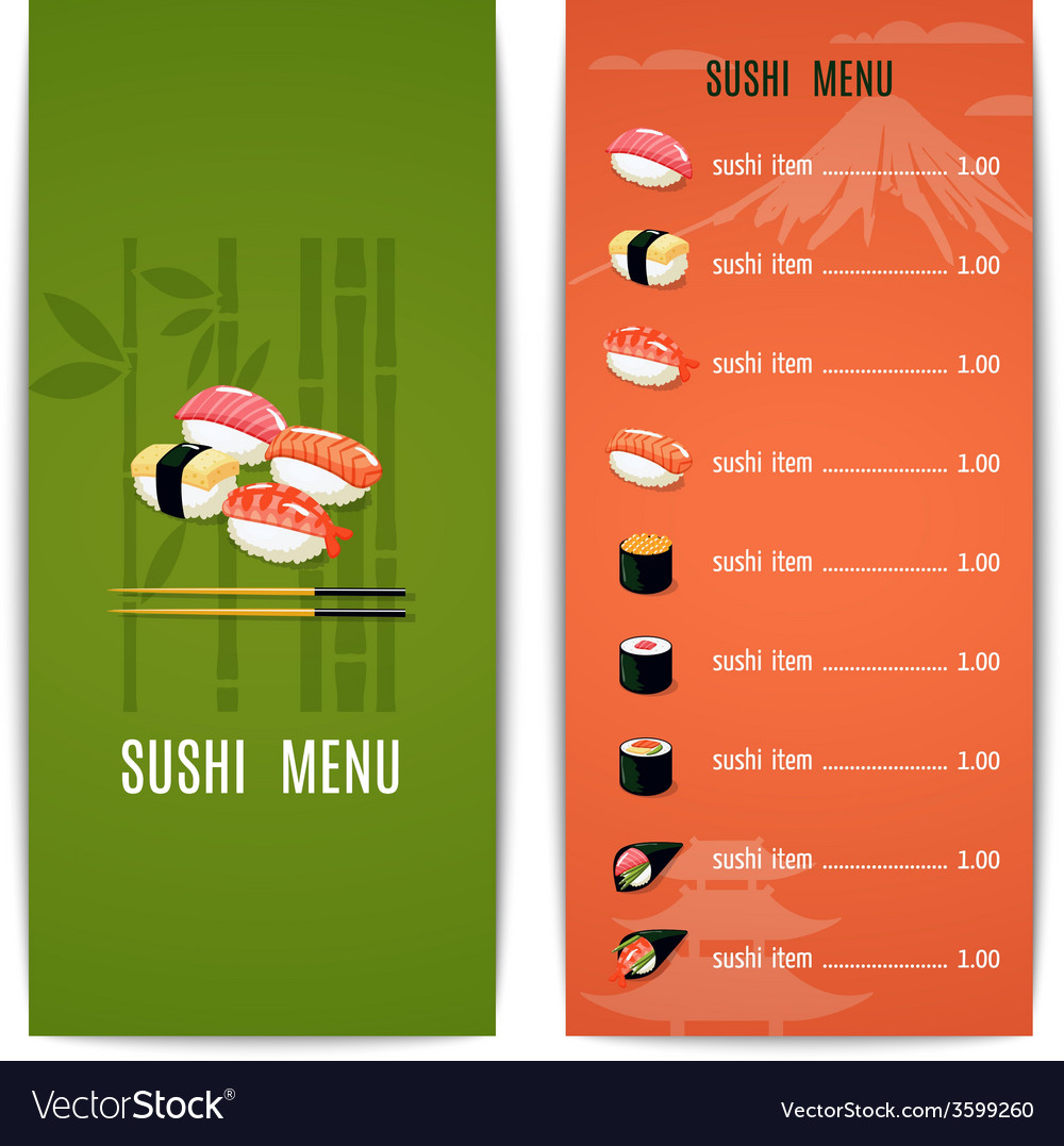 Asian food menu vector | Price: 1 Credit (USD $1)