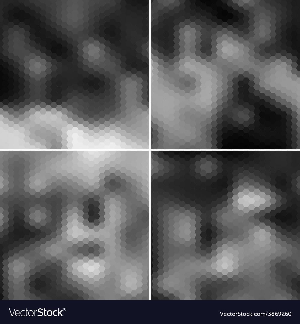 Black blurred hexagonal backgrounds set vector | Price: 1 Credit (USD $1)