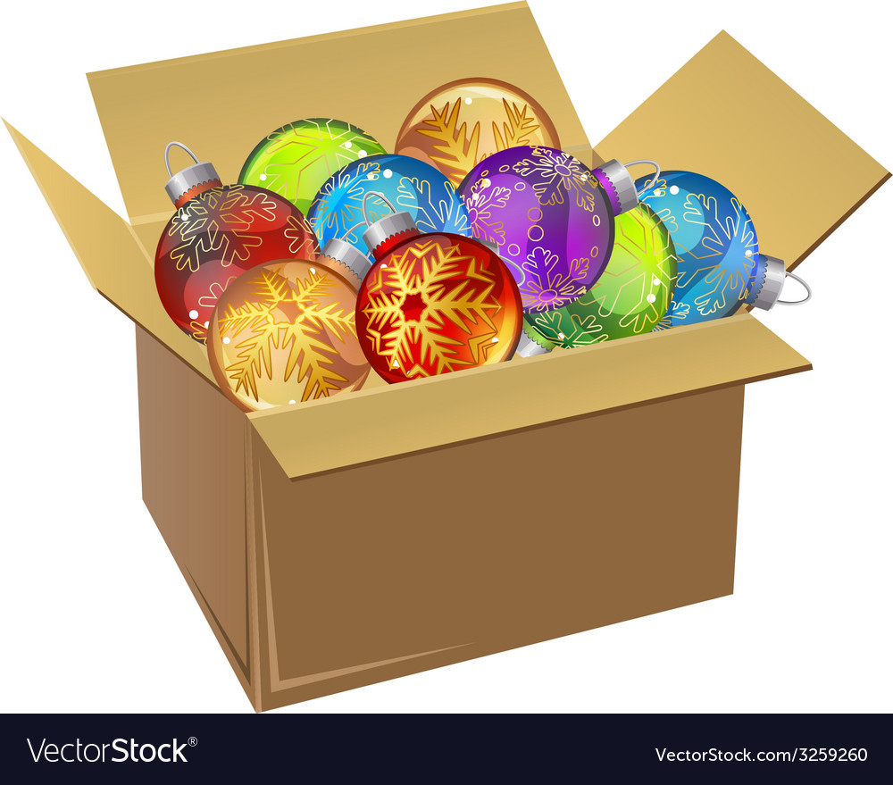 Cardboard box full of christmas balls isolated vector | Price: 1 Credit (USD $1)