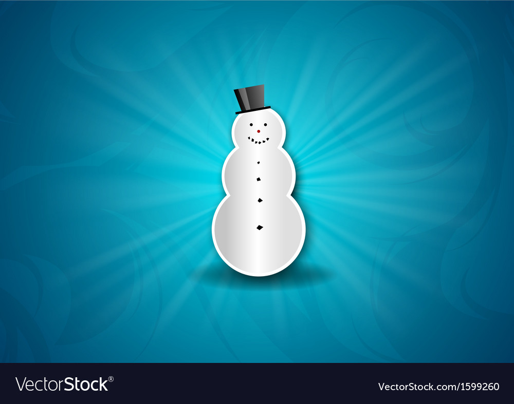 Christmas background shine blue snowman vector | Price: 1 Credit (USD $1)