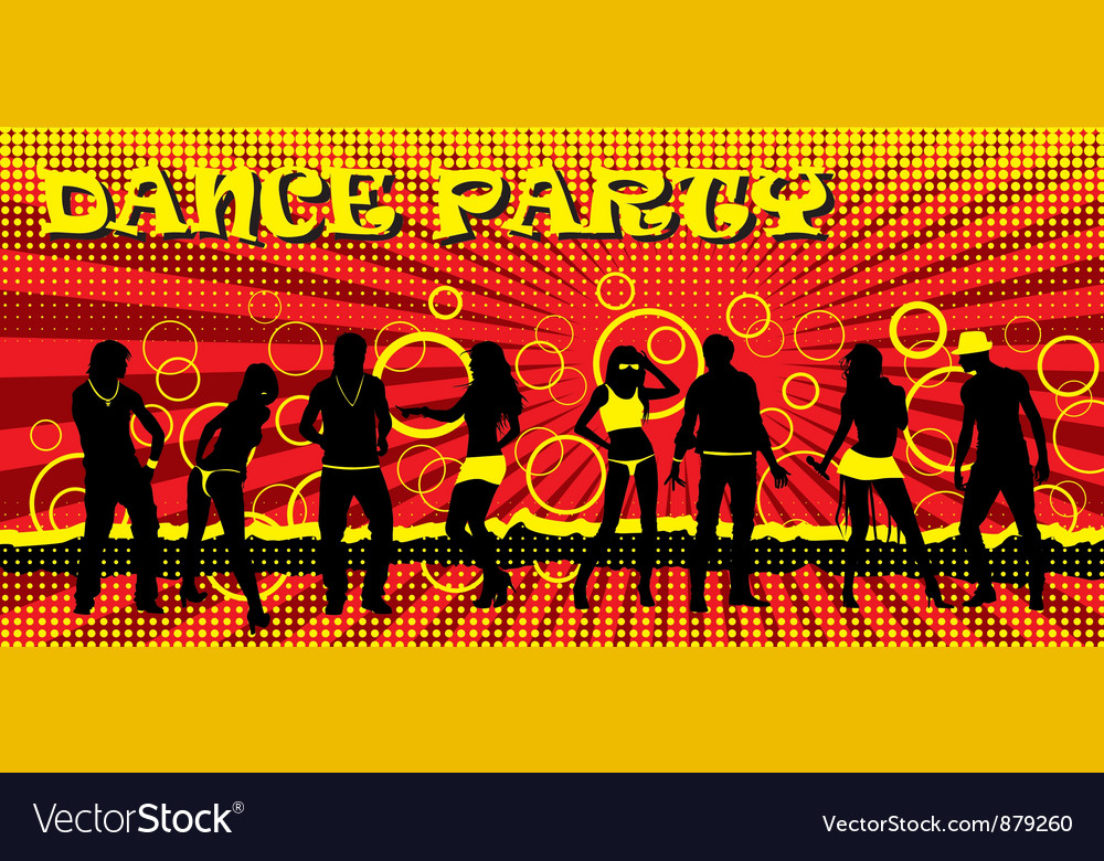 Dance party ticket red vector | Price: 1 Credit (USD $1)