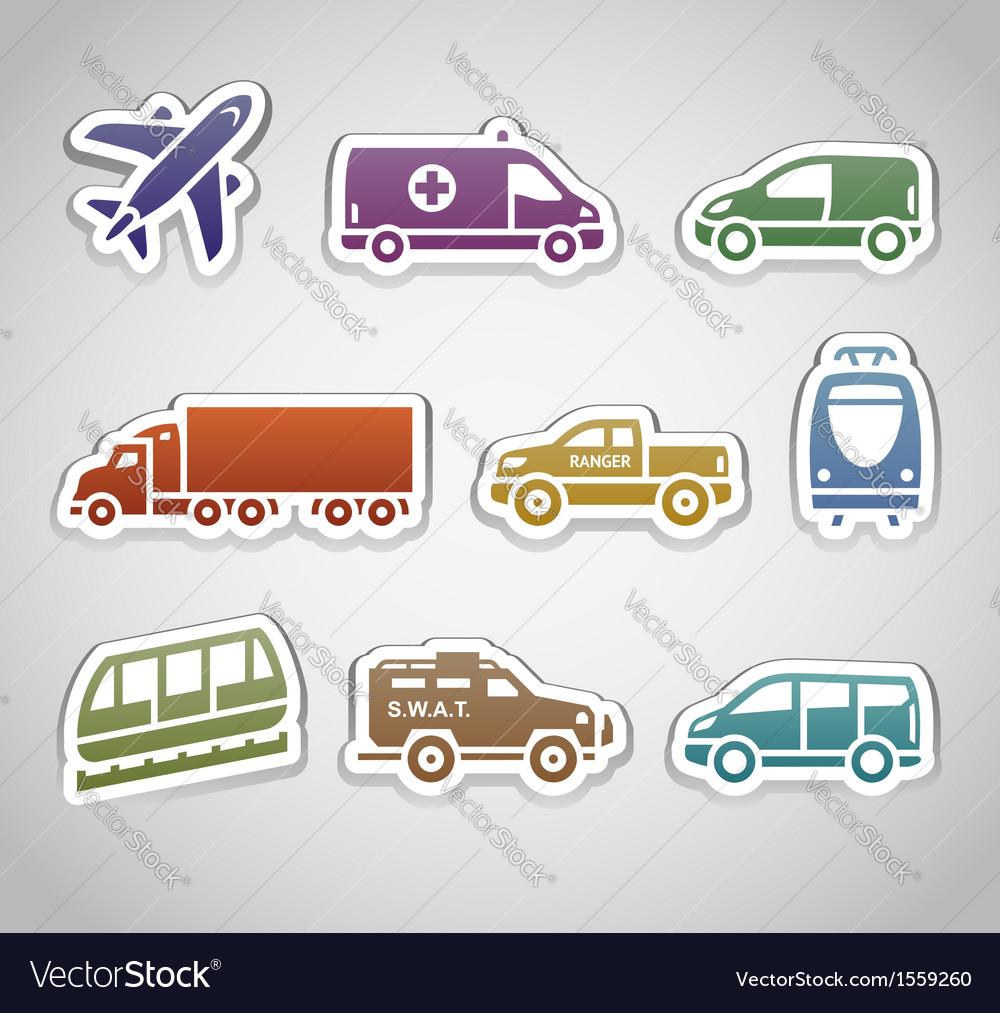 Flat retro color stickers - set seven vector | Price: 1 Credit (USD $1)