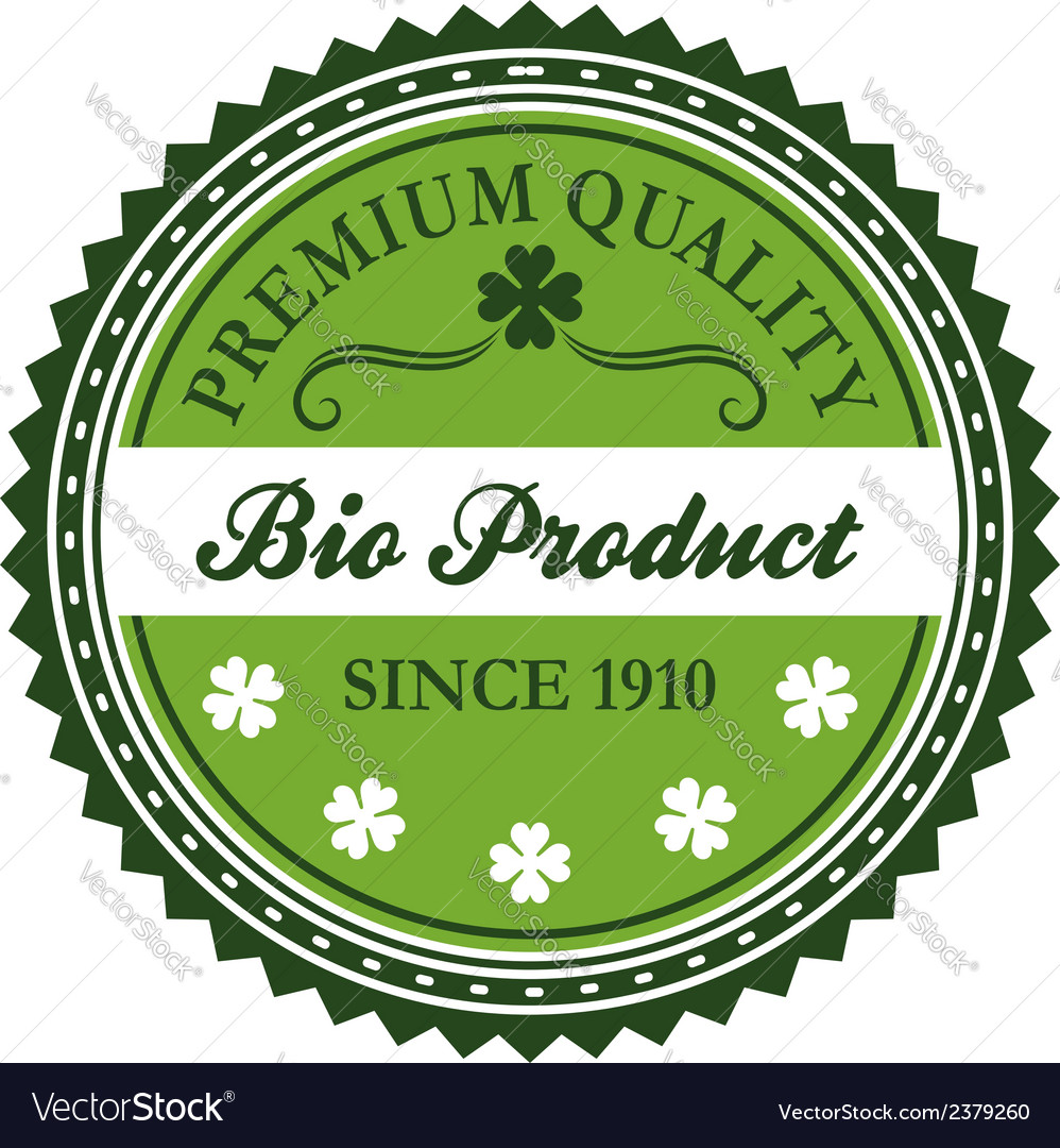 Green bio product label design vector | Price: 1 Credit (USD $1)