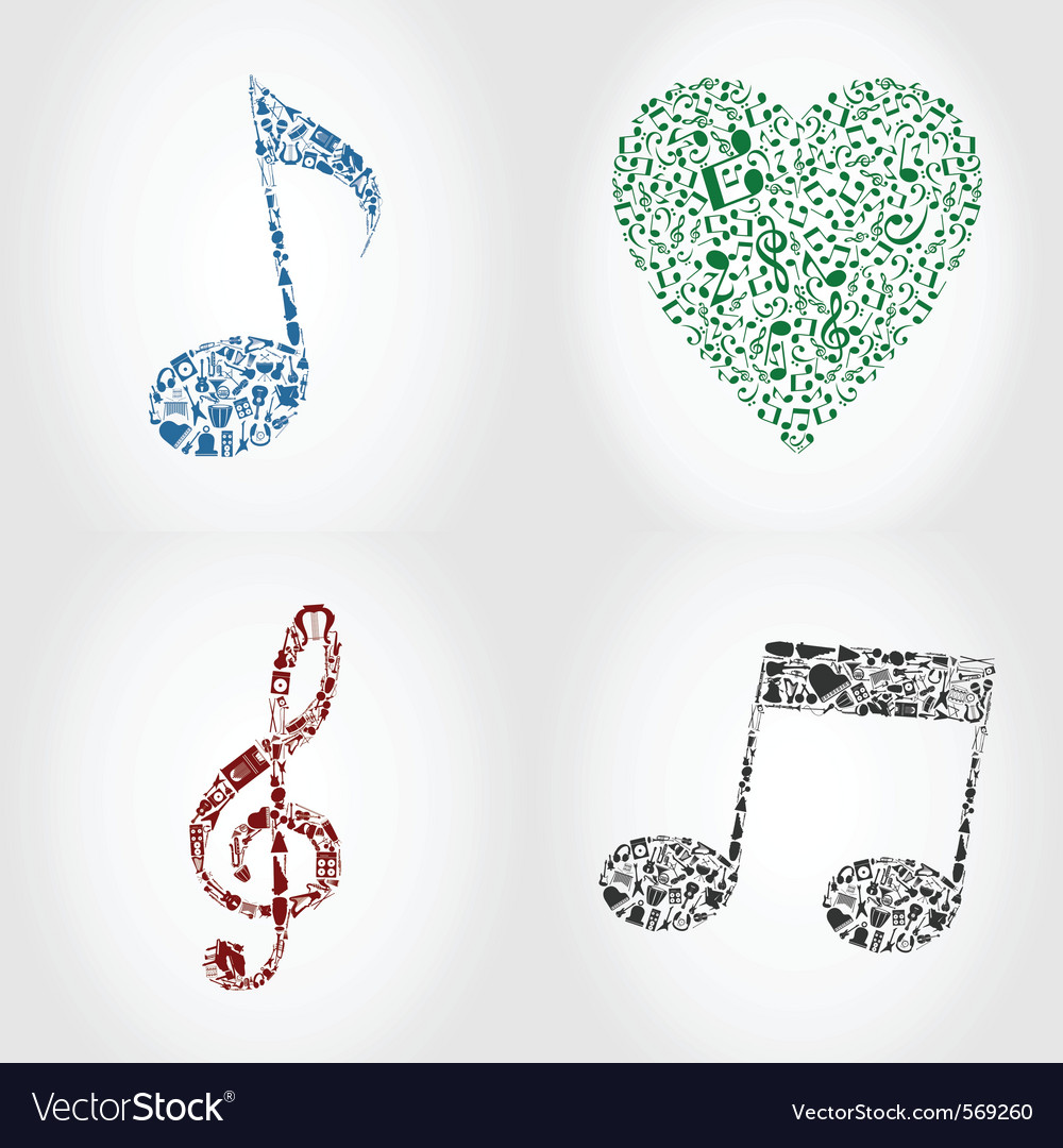 Musical note icons vector | Price: 1 Credit (USD $1)