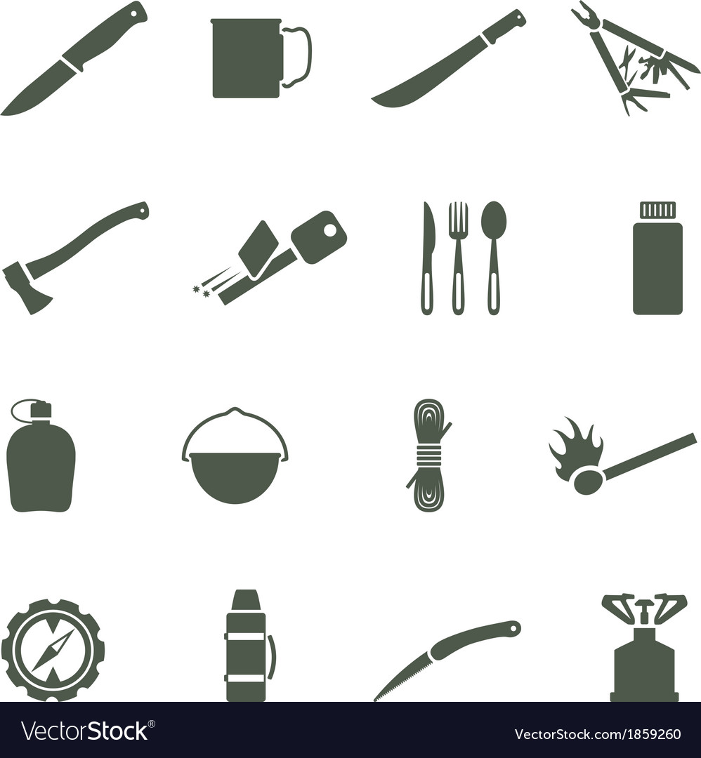 Set of icons with camping equipment and vector | Price: 1 Credit (USD $1)