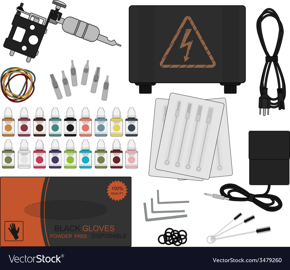 Set of professional tattoo equipment vector | Price: 1 Credit (USD $1)