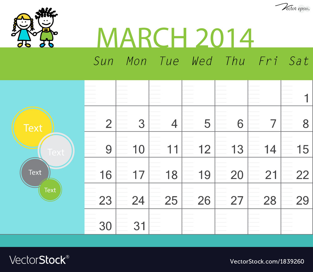 Simple 2014 calendar march vector | Price: 1 Credit (USD $1)
