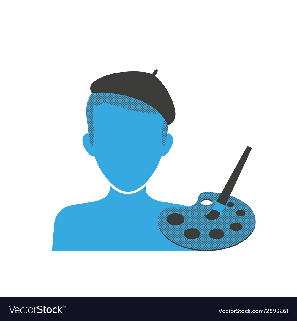 Artists blue icon vector | Price: 1 Credit (USD $1)