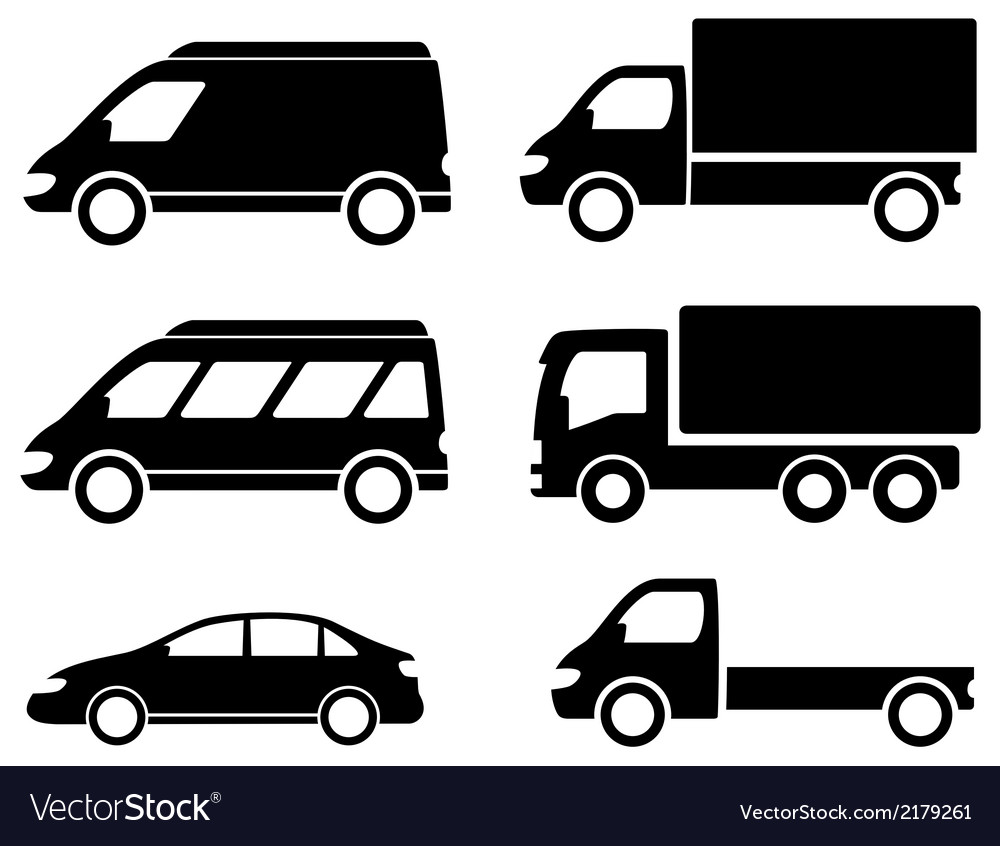 Black set transport icons vector | Price: 1 Credit (USD $1)