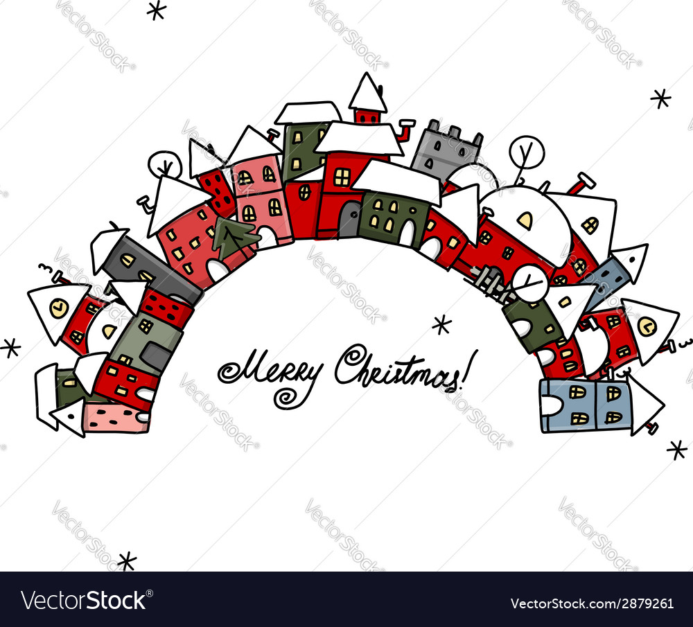 Christmas card with winter city sketch for your vector | Price: 1 Credit (USD $1)