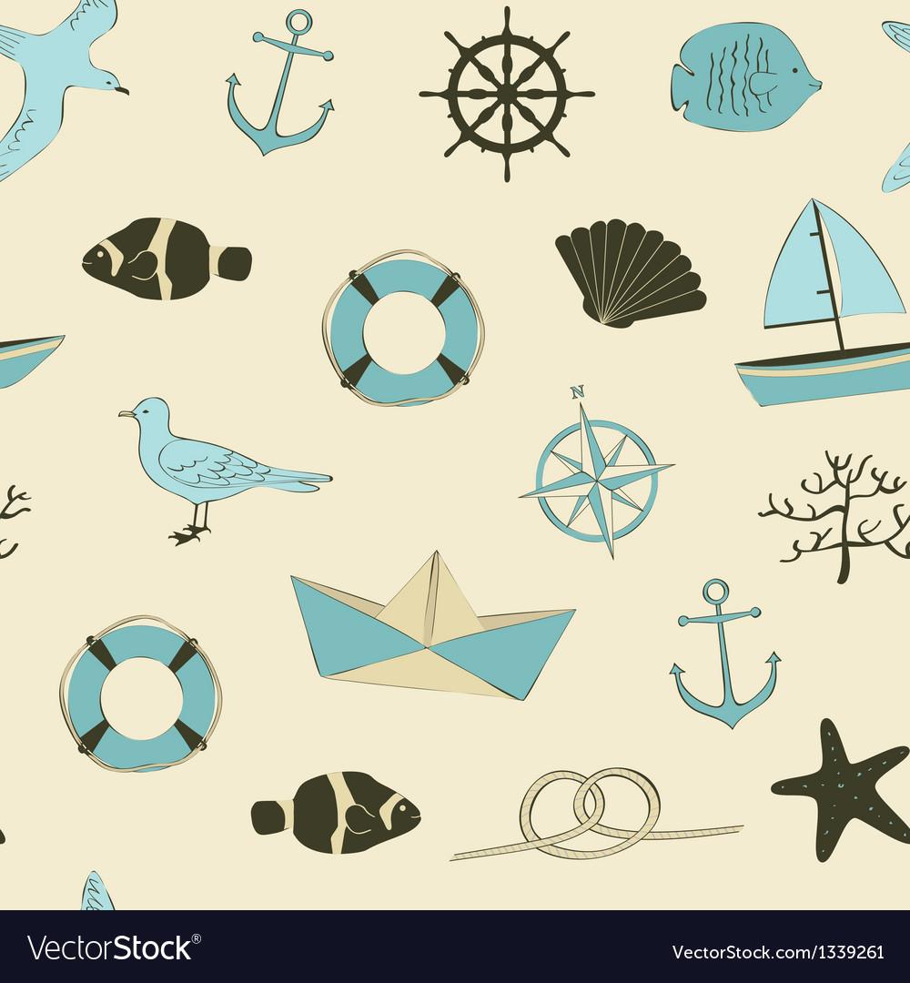 Cute nautical seamless vector | Price: 1 Credit (USD $1)