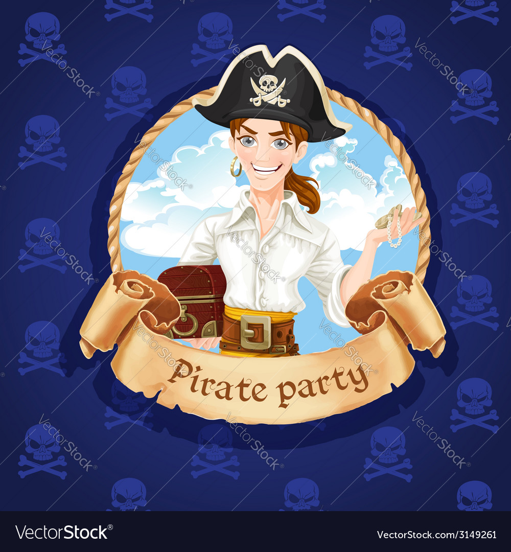 Cute young pirate with treasures  banner for vector | Price: 3 Credit (USD $3)