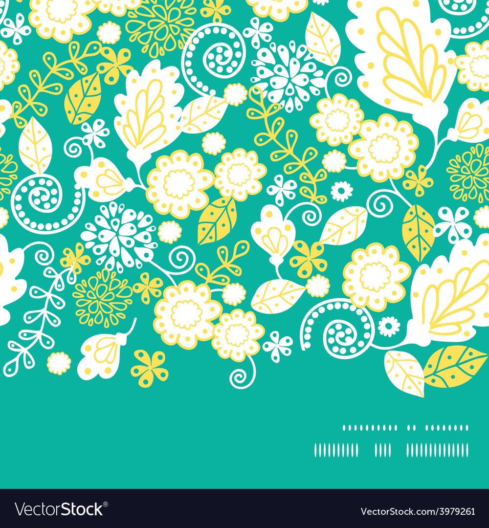 Emerald flowerals horizontal frame seamless vector | Price: 1 Credit (USD $1)