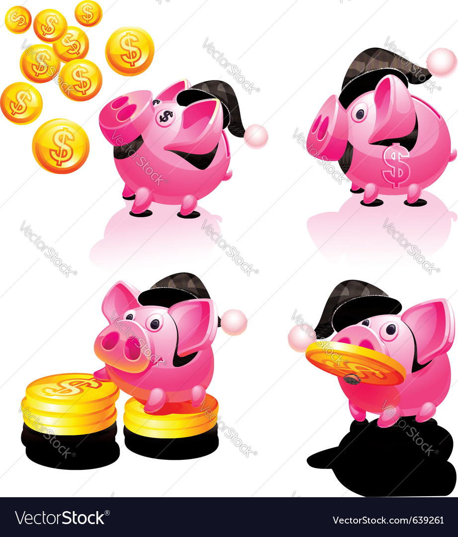 Happy new years piggy bank vector | Price: 3 Credit (USD $3)