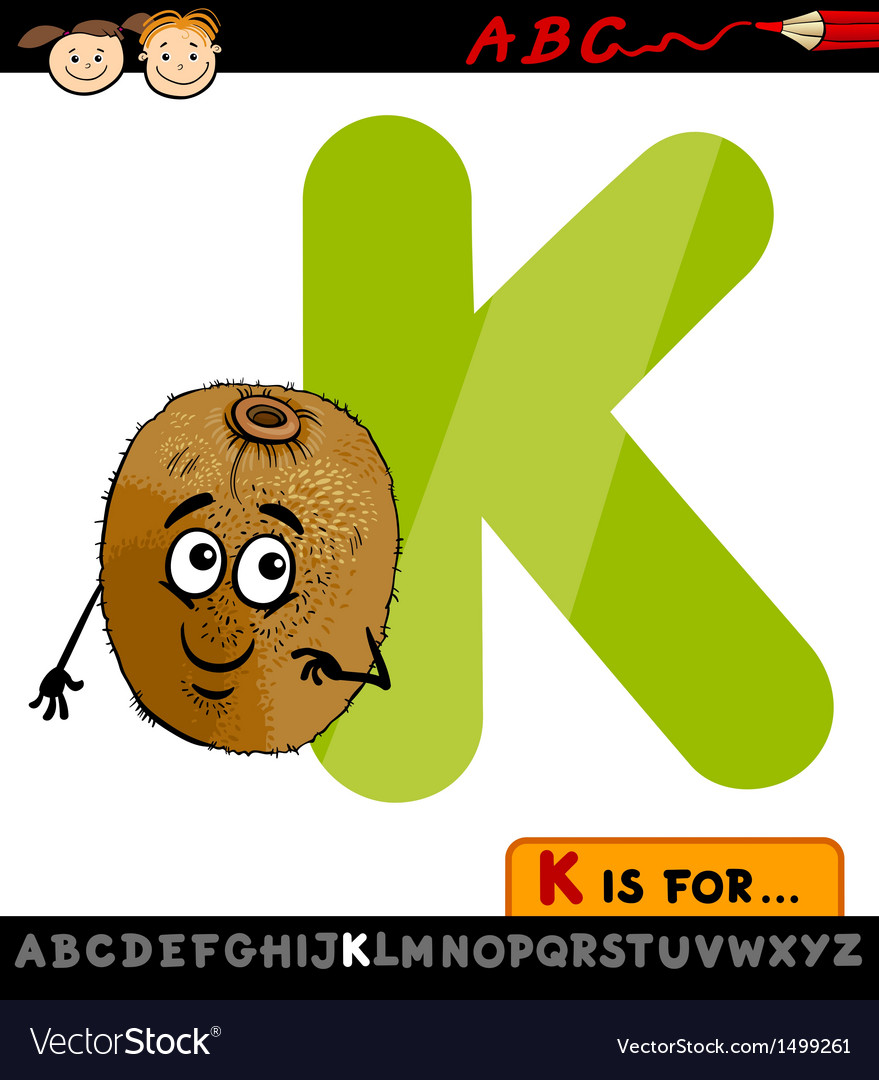 Letter k with kiwi cartoon vector | Price: 1 Credit (USD $1)