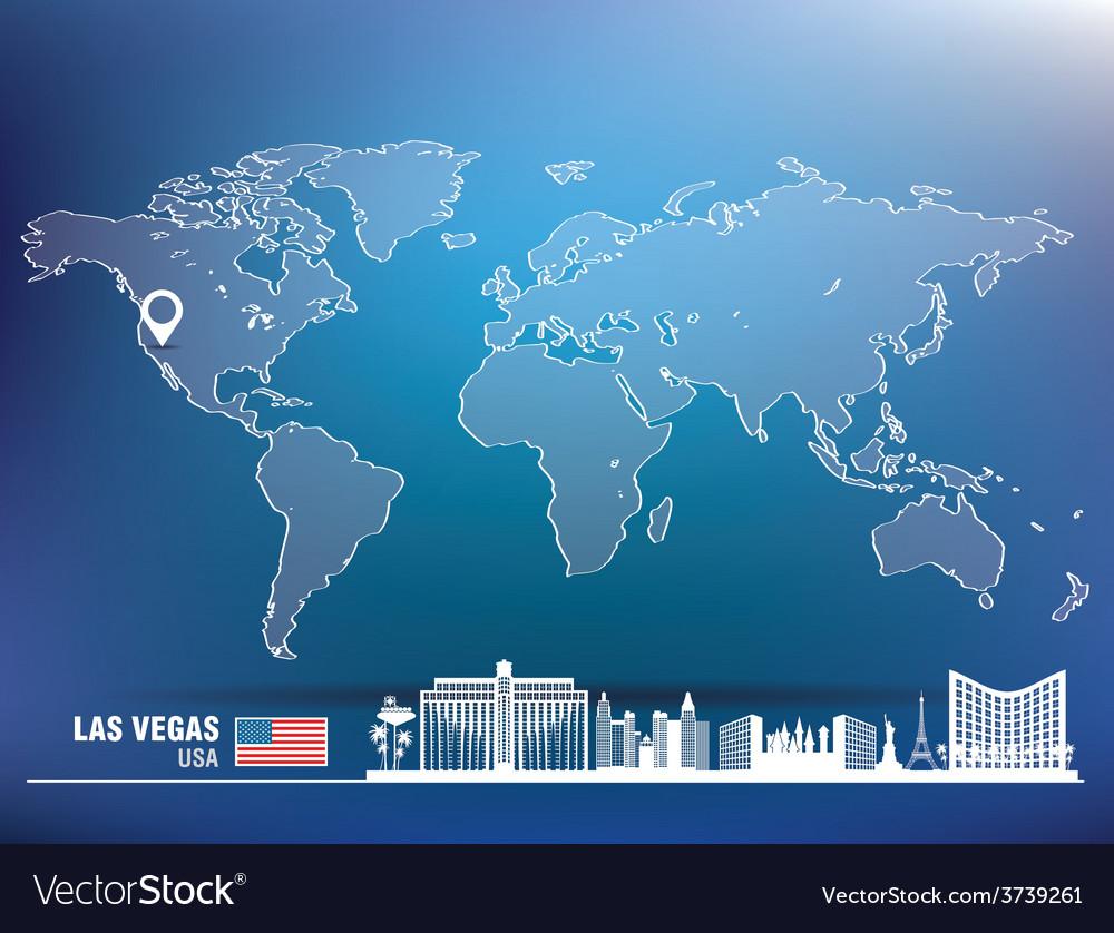Map pin with las vegas skyline vector | Price: 1 Credit (USD $1)