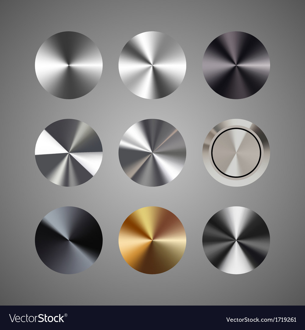 Metal conical gradients button set vector | Price: 1 Credit (USD $1)