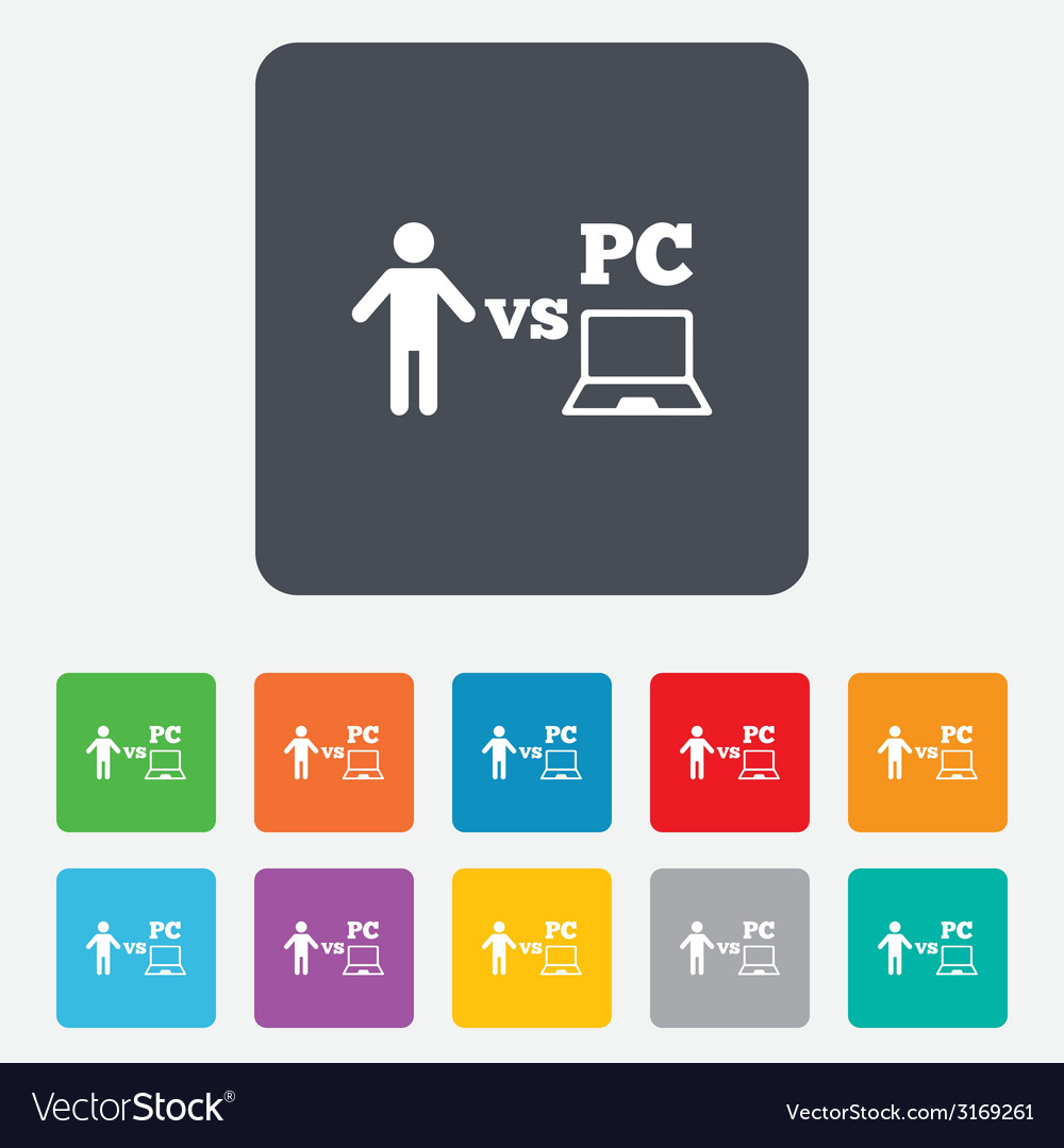 Player vs pc sign icon games symbol vector | Price: 1 Credit (USD $1)