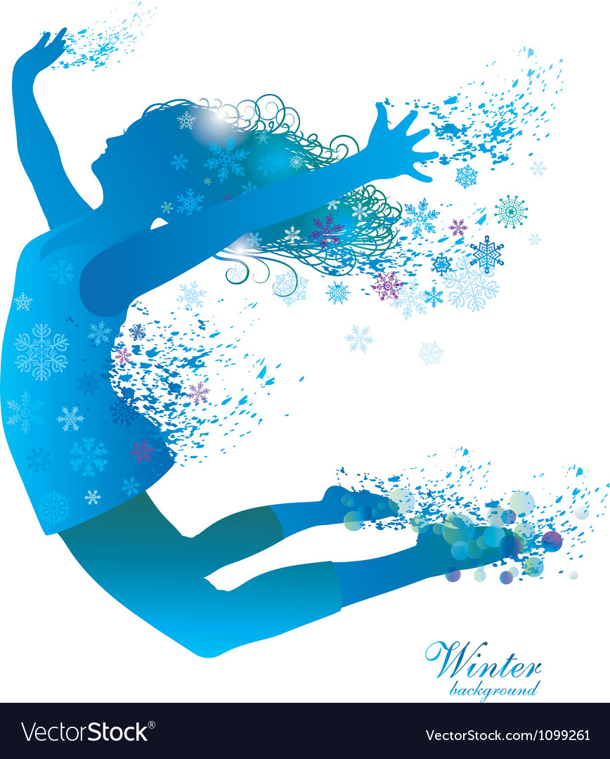Winter girl with snowflakes vector | Price: 1 Credit (USD $1)