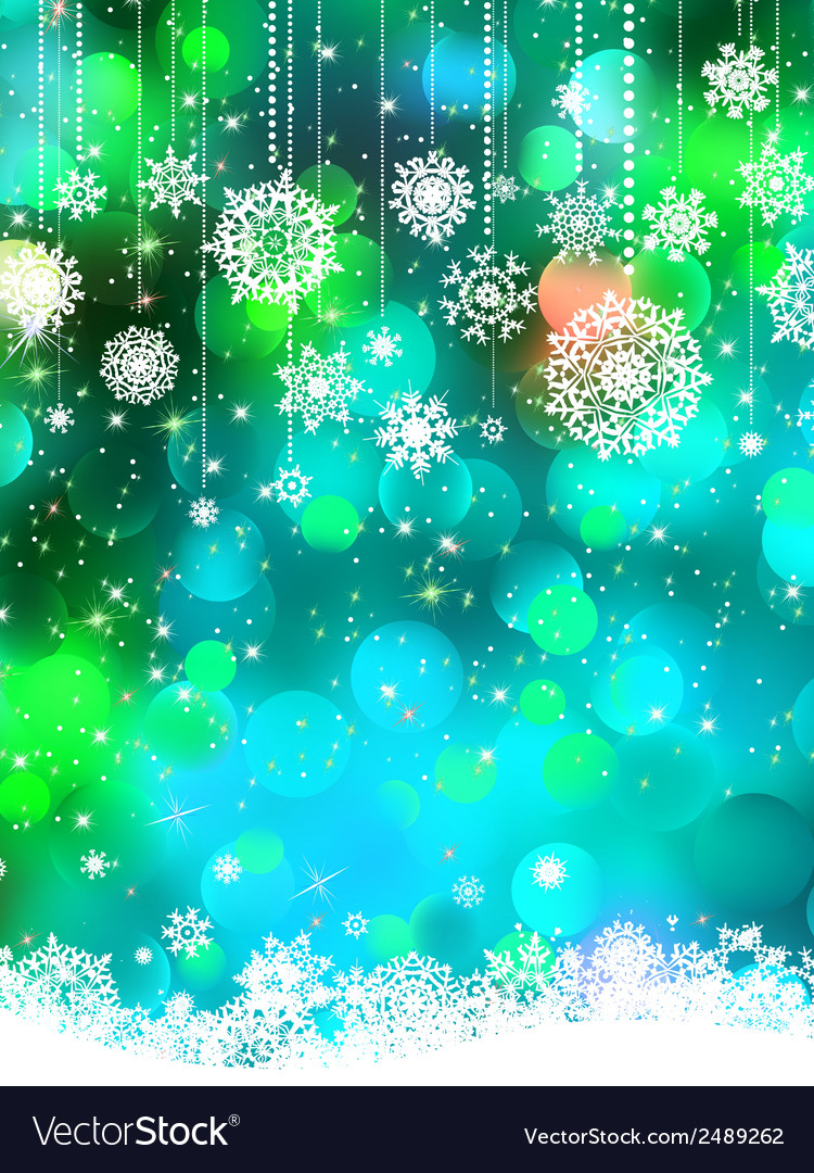 Abstract green blue winter with snowflakes eps 8 vector | Price: 1 Credit (USD $1)