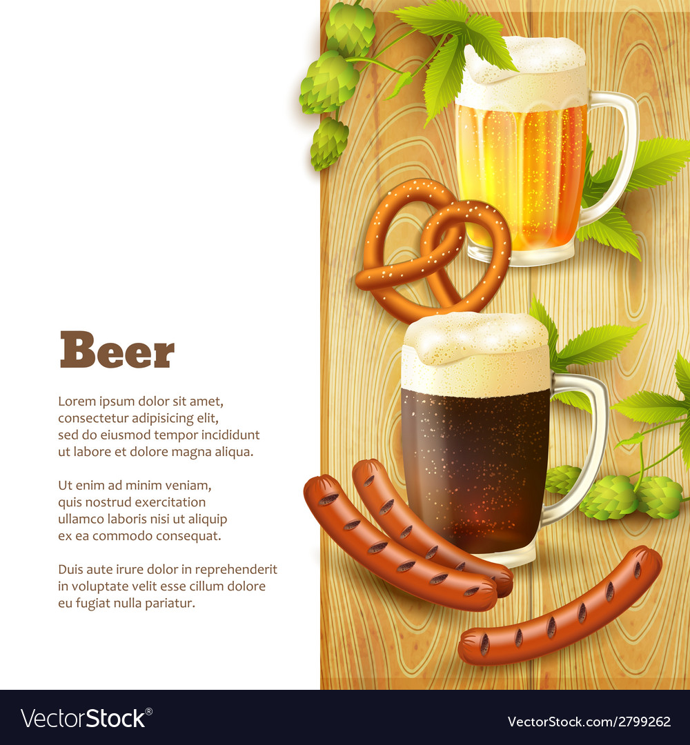 Beer and snacks border vector | Price: 1 Credit (USD $1)