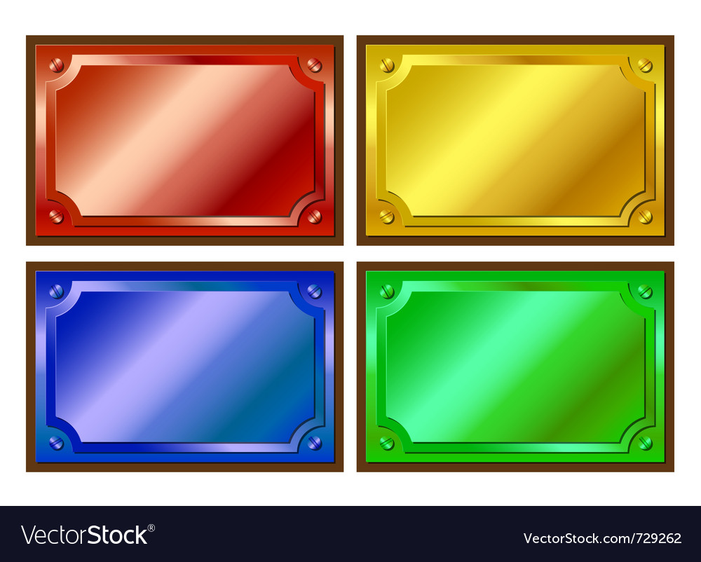 Colored metallic plaques vector | Price: 1 Credit (USD $1)