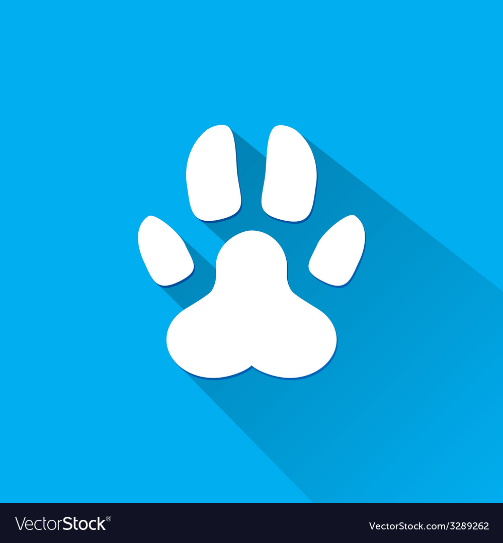 Flat dog paw silhouette with shadow vector | Price: 1 Credit (USD $1)